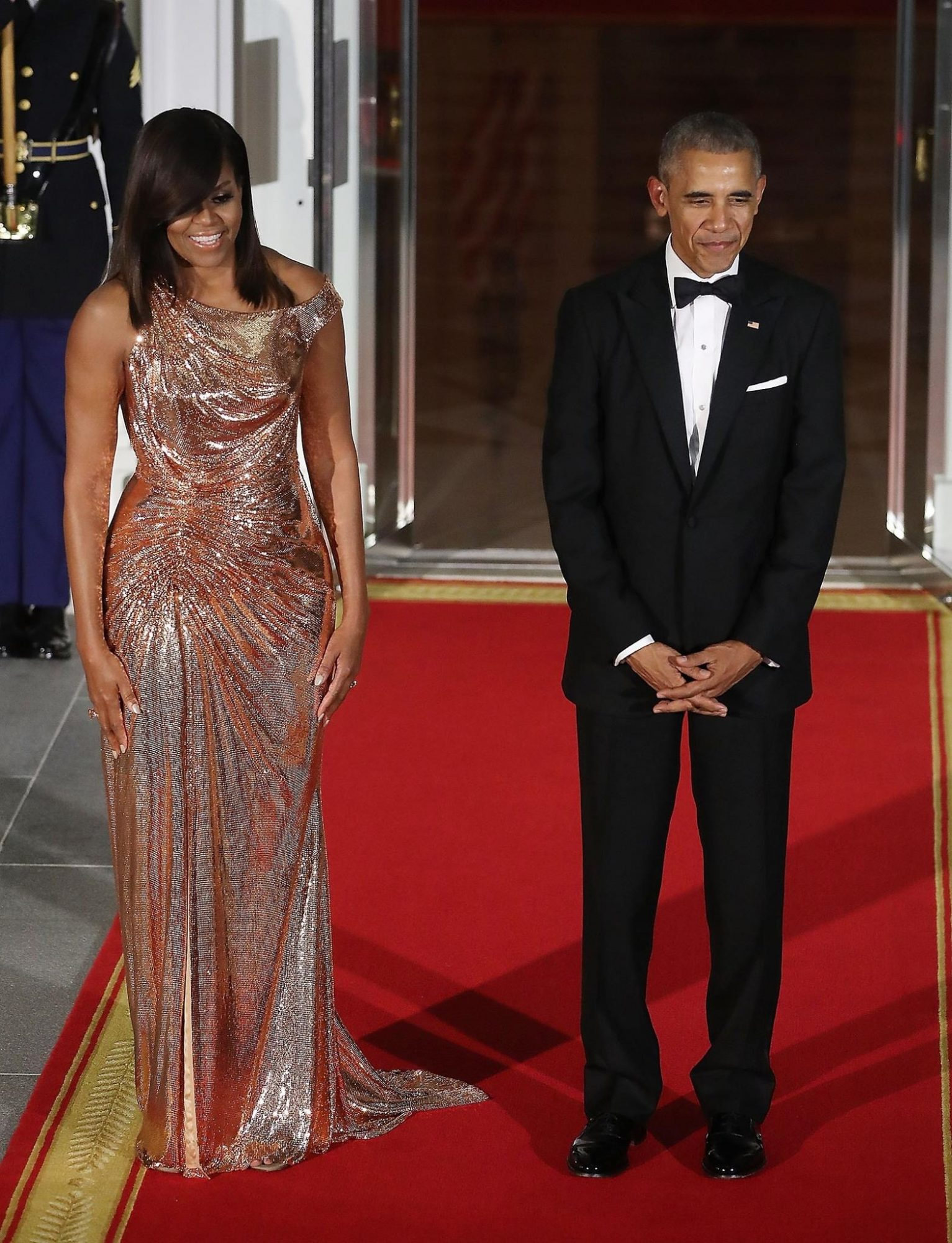MICHELLE OBAMA WEARS VERSACE IN FINAL STATE DINNER