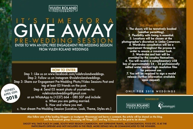 Cameroonian Wedding Photographer is giving away a free pre-wedding photo shoot