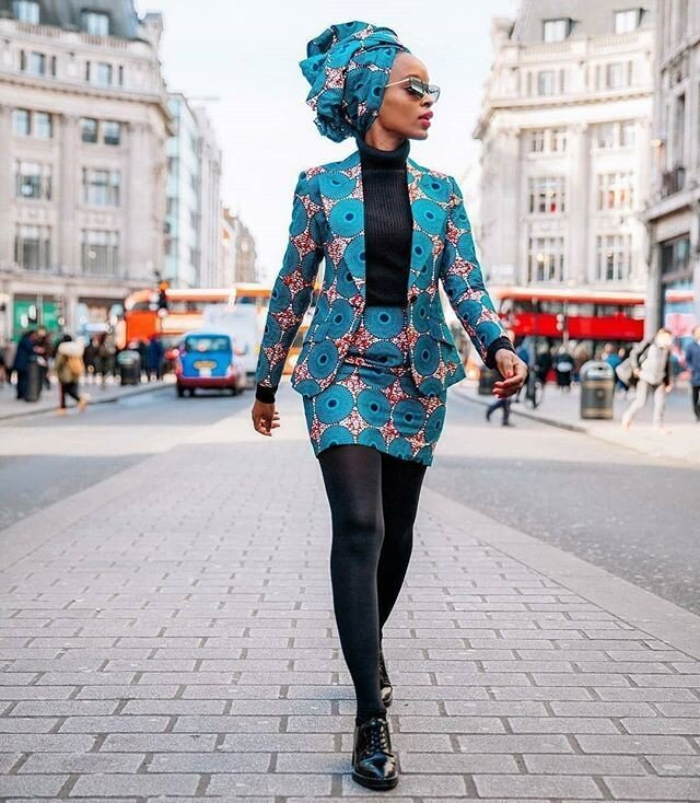 Skirt suit with headpiece
