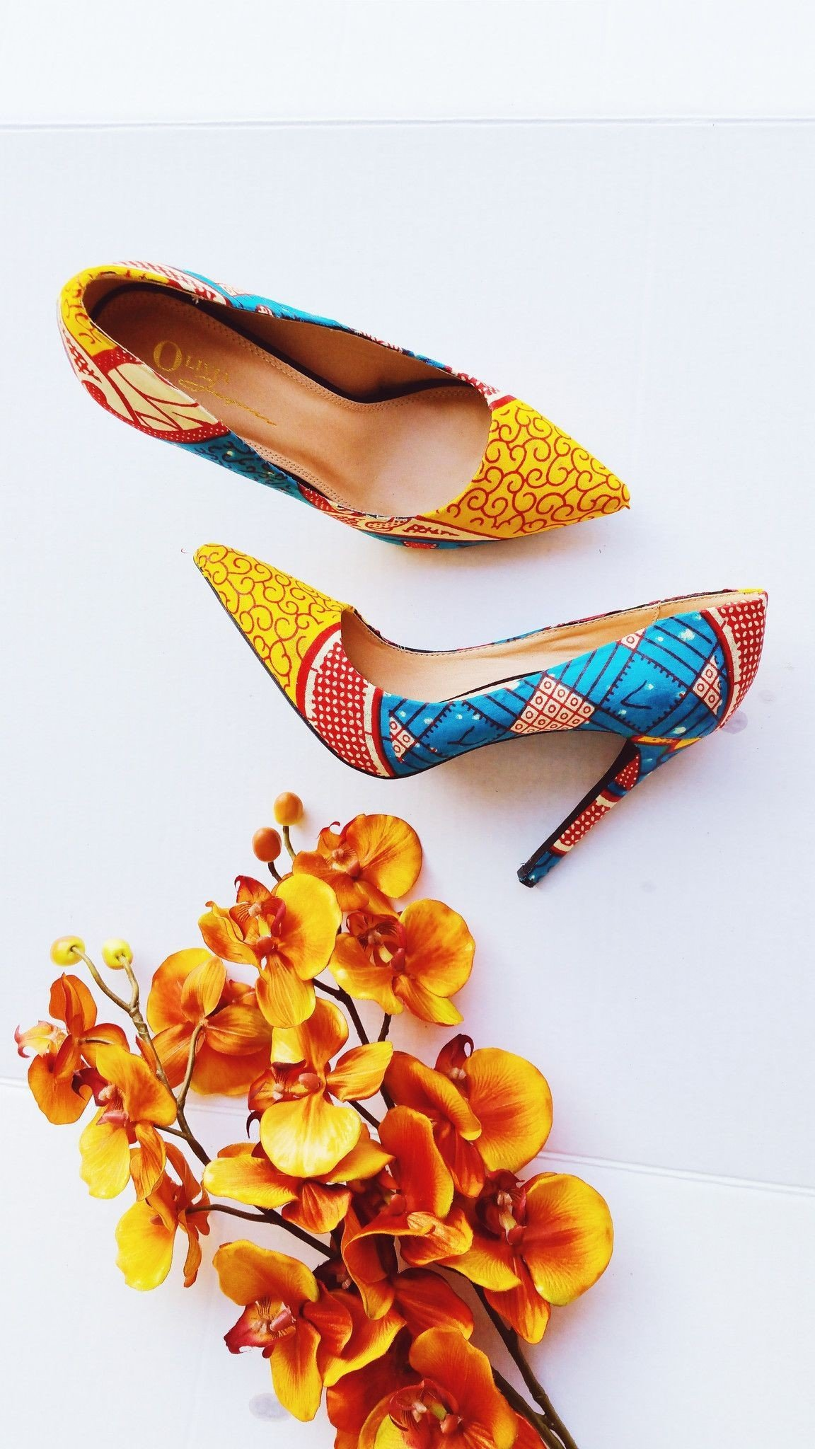 Yellow African Print Fashion Shoes For Women