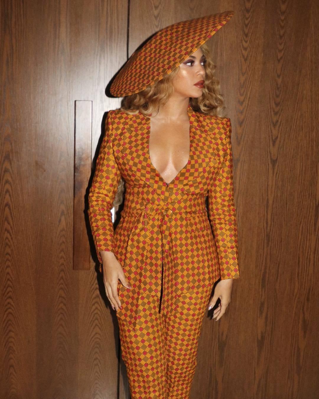 Beyoncé Wears Ankara Printed Suit and Hat