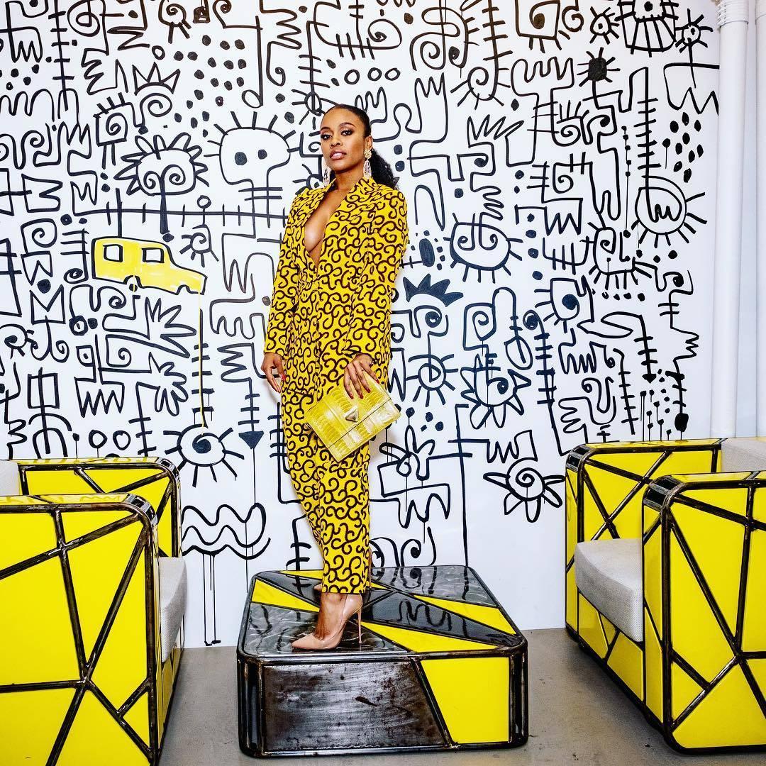 Nomzamo Mbatha in Yellow African Print Pantsuit